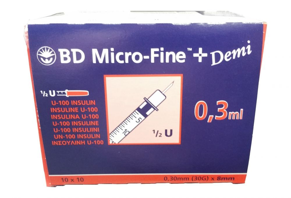 BD 324826 Microfine Insulin syringe (0.3ml) 30G x 8mm needle